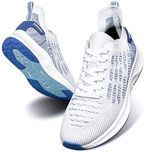 Damyuan Mens Tennis Shoes Running Sneakers Gym Workout Walking Athletic Sport Lightweight Non Slip Shoes for Men Casual White
