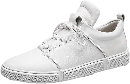 WHL.LL Pour des hommes PU Petites chaussures blanches Poids léger Fil à coudre Chaussures de loisirs Doux Cravate devant Chaussures de mouveHommest