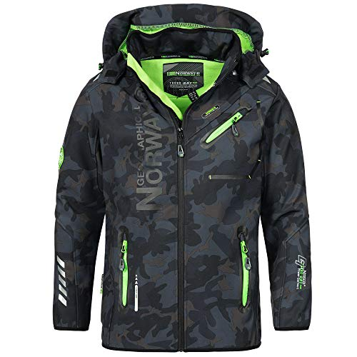 Geographical Norway Herren Softshell Outdoor Jacke Rainman Turbo-Dry Kapuze (XXL, Navy/Green)