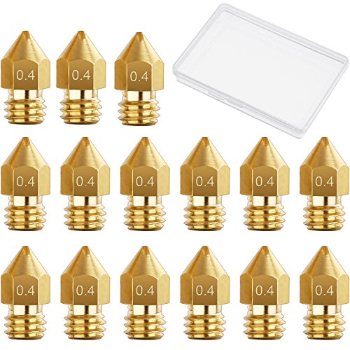 15 Pieces 0.4 mm MK8 3D Printer Brass Extruder Nozzle Print Heads for Makerbot Creality CR-10 with Free Storage Box
