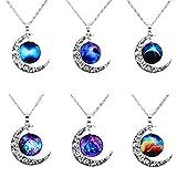 MJARTORIA Damen Halskette Retro Silber Farbe Freundschaftsketten Halbmond Runder Stern Moonlight Anhänger Kette Geschenkset 6 Stück/2 Stück (☀6 Pcs☀)