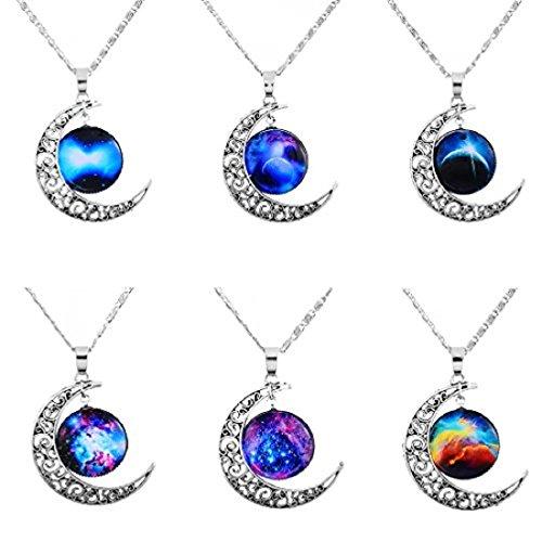 MJARTORIA - Lote de 6 collares de la amistad con colgantes de luna con motivos de galaxias, en color plateado, para mujer