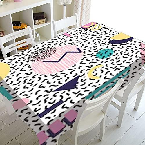 XXDD Simple Negro Blanco Abstracto geométrico decoración del hogar nórdico Retro Doodle manteles Impreso Mantel Cubierta de Mesa de Comedor A6 140x160cm