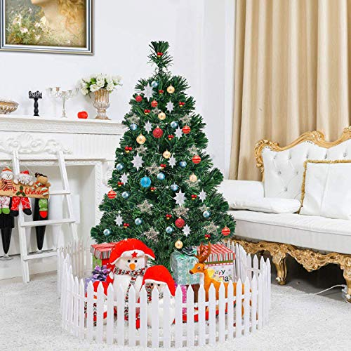 CASART 3FT | 4FT | 5FT |6FT Artificial Christmas Tree with Fiber Optic, Lightweight, Xmas Decoration with Stand, Indoor & Outdoor, Green (4FT)