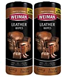 Weiman Leather Wipes for Furniture - 2 Pack - Non Toxic Formula Cleans