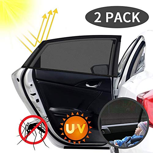 Cihely Auto Sonnenschutz Doppelschicht Kinder Sonnenblende Auto mit UV Schutz Sonnenschutzrollo Auto für Seitenfenster Meshmaterial Schützt Mitfahrer, Baby, Kinder & Haustiere, 2 Stück