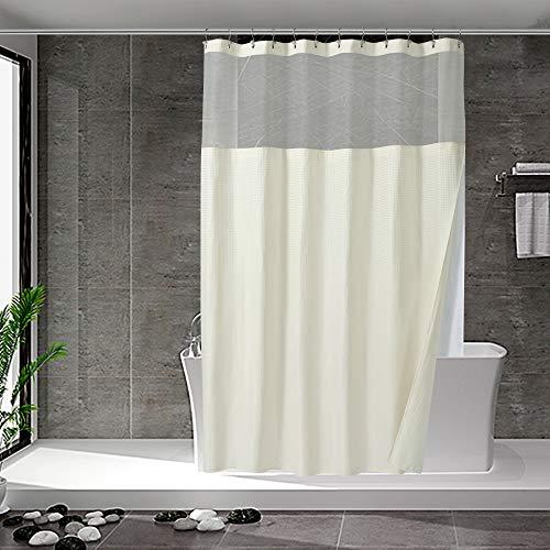 Duschvorhang mit einrastbarem Stoffeinsatz, 12 Haken im Lieferumfang enthalten, Hotel-Stil, wasserabweisend & waschbar, schwerer Stoff & Netzfenster oben, 71 x 72 cm, cremefarben