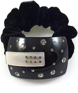 Rougecaramel Gumka do włosów, elastyczna, aksamitna, fantazyjna forma, kryształ, czarna