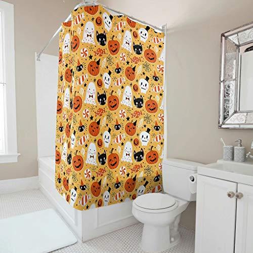 Gamoii Halloween Kürbis Schädel Katze Süßigkeit Duschvorhang Bad Gardinen Personalisiert Badewanne Vorhang Badezimmer Decor Duschvorhänge mit Duschvorhangringen White 200x200cm