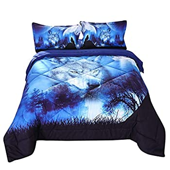 Luxury Quilted Comforter Set Cool Wolf Pattern Print Bedding Set for Boys and Girls Tencel Cotton Fabric with Soft Microfiber Fill Bedding Home Bedroom College School Dorm Room Decors - Queen Blue