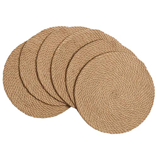 SHACOS Salvamanteles individuales de yute trenzados, antideslizantes, redondos, reversibles, resistentes al calor, manteles...