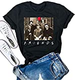 Funny Friends Horror Halloween T-Shirt Michael Myers Jason Horror Scary Movies Gift Tee Shirt for Women (Black, M)
