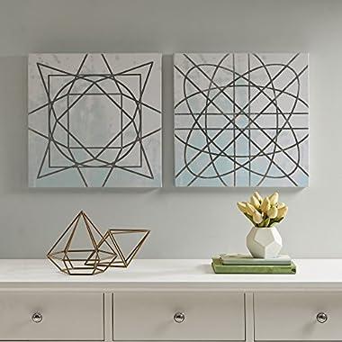 Décor 5 Printed Canvas Set with Silver Metallic Foil - 2 Pieces, 18'' x 18'' - Artic Geometric Pattern - Blue, White, Silver Foil