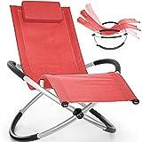 tillvex Relaxliege Gartenliege faltbar | Liegestuhl wetterfest | Schwungliege 180 kg Belastung | Gartenstuhl atmungsaktiv (Rot)