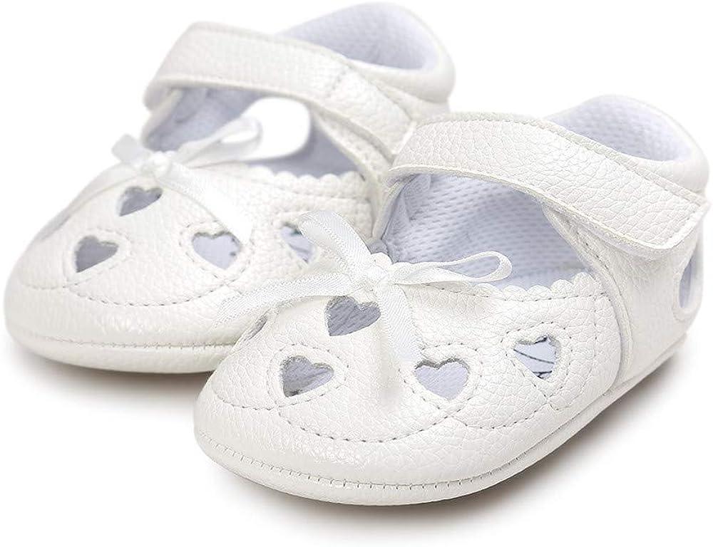Meckior Infant Baby Girls Sandals Summer Soft Leather No-Slip Princess First Walkers Shoes