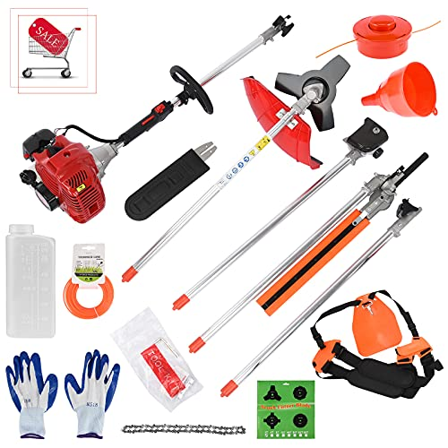 Duifin 5 in 1 52cc Petrol Hedge Trimmer Chainsaw Brush Cutter Pole Saw Outdoor Tools Garden Tool Gas String Included Cutter, Pruner, Strimmer, and Extension Pole(US Stock) Red