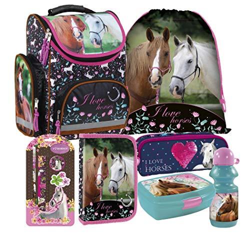 Pferd Pony Horses 10 Teile Set Schulranzen Ranzen FEDERMAPPE mit Sticker von Kids4shop Tasche Tornister Mädchen Kinder Schulrucksack