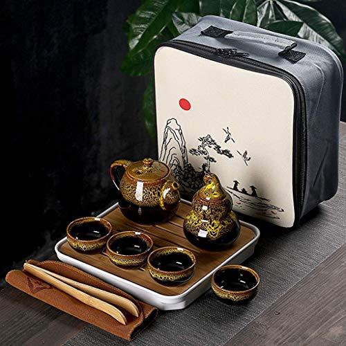 FHISD Portable Tea set include 1 Teapot 4 Teacups 1 Tea caddy teapot kettle,Chinese Travel Ceramic Portable Teaset with bag