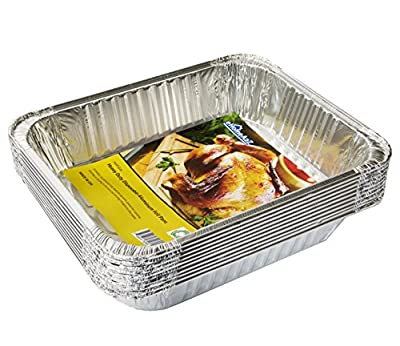 """eHomeA2Z Aluminum Pans Disposable Half Size 10 Pack 9"""" x 13"""" Prepping Food Storing Heating Cooking (10, Half Size)"""