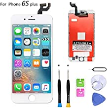 Screen Replacement Compatible with iPhone 6S Plus 5.5 Inch LCD - Compatible with iPhone 6S Plus 3D Touch Screen Display Repair Kit Assembly with Complete Repair Tools-(White)