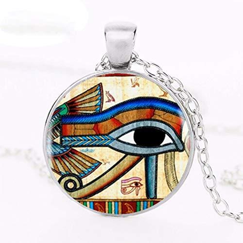 Gargantilla con colgante de ojo de Horus egipcio antiguo (ojo de wedjat), collar de plata para mujer, accesorios de vestir