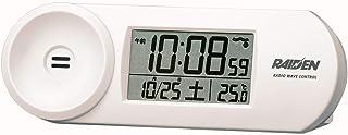 セイコークロック 置き時計 02:白 本体サイズ:5.1x14.4x4.2cm 電波 デジタル 大音量 PYXIS ピクシス RAIDEN BC407W