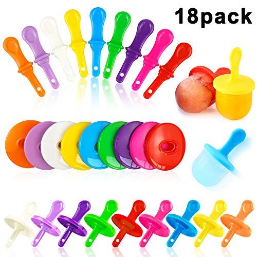 Mity rain 18 Pack Colorful Reusable Popsicle Sticks - Plastic Ice Cream Sticks Treat Sticks Ice Pop Sticks for DIY Crafts