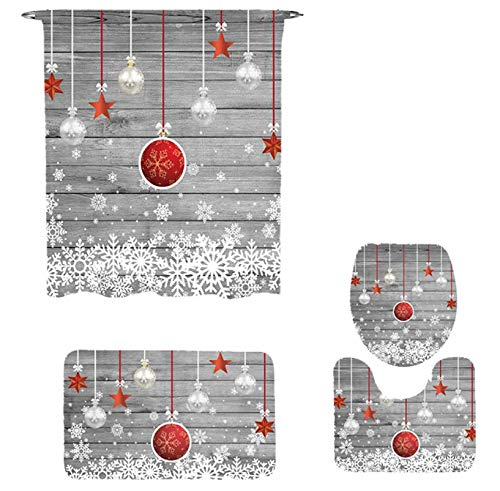 Ikfashoni 4 Pcs Christmas Shower Curtains Set with Non-Slip Rugs, Toilet Lid Cover and Bath Mat, Grey Vintage Wooden Shower Curtain with 12 Hooks, Xmas Snowflake Shower Curtain for Bathroom