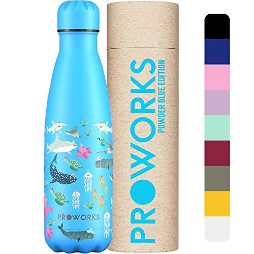 Proworks Botellas de Agua Deportiva de Acero Inoxidable   Cantimplora Termo con Doble Aislamiento para 12 Horas de Bebida Caliente y 24 Horas de Bebida Fría - Libre de BPA 1L Bajo el mar Azul pálido