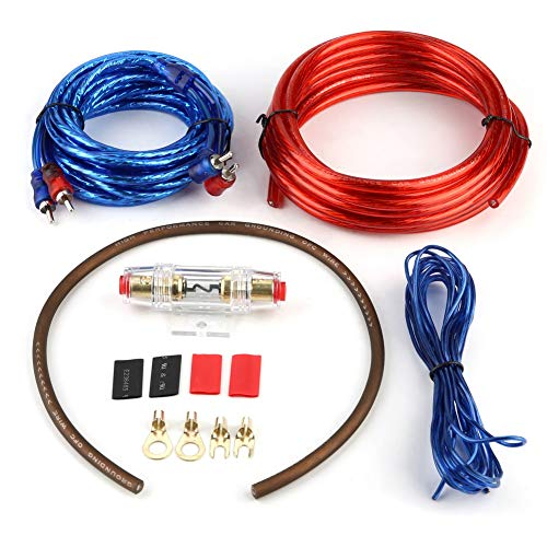 Audio kabel, auto audio kabelboom subwoofer versterker luidspreker installatiekabel kit blauw RCA-stuurkabel met zekering