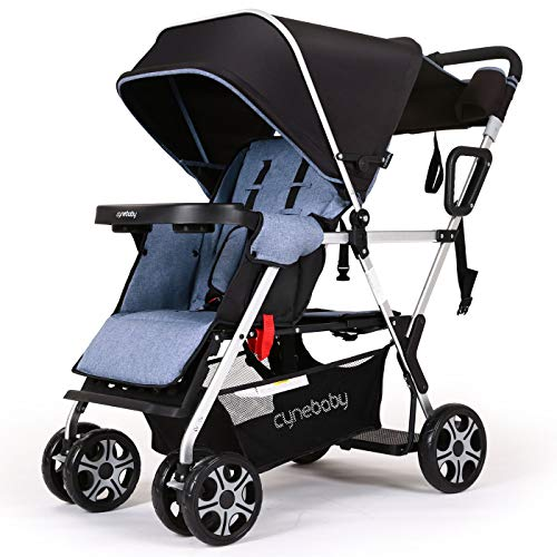 Double Stroller Convenience Urban Twin Carriage Stroller Tandem Collapsible...