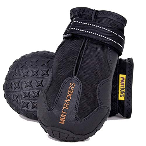 Muttluks Mutt Trackers Dog Boots – Warm, Cozy, Water Resistant Socks for Dogs, Puppies – Stretchy, Adjustable Pet Booties – Durable, Rubber Soles, Paw Protection – 2 Pack – Black, X-Small/Small