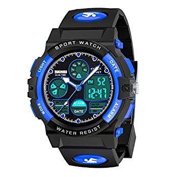 Dreamingbox Outdoor Toys for 5-12 Year Old Boys LED 50M Waterproof Digital Sport Watches for Kids Christmas Birthday Presents Gifts for 5-12 Year Old Boys Toys Age 5-12 Analog Watch for Boys Kids