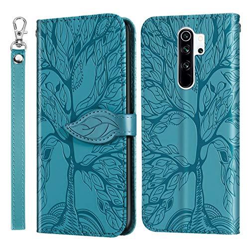 Miagon Prägung Lederhülle für Xiaomi Redmi 9,Handyhülle Tasche Brieftasche Hülle Bookstyle Schutzhülle Flip Case Cover Klapphülle Kartenfächer,Baum Blau