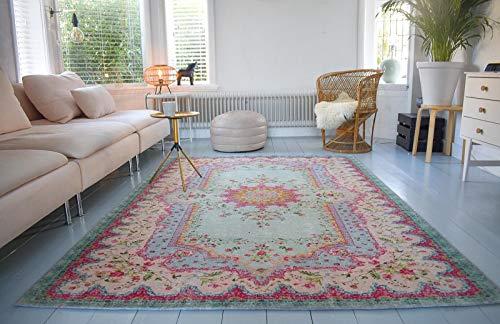 Rozenkelim Vintage Teppich | Shabby Chic Look Teppichläufer für Wohnzimmer, Schlafzimmer und Flur | 70% Polypropylen, 30% Baumwolle (Pastell, 225cm x 155cm, 8 mm hoch)