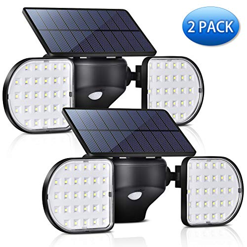 A-ZONE Outdoor Solar Motion Sensor Light, Solar Motion Sensor Security LED Wireless Flood Lights Outdoor with Dual Head Spotlights Rotatable Solar Security Lights for Yard Garden Garage (Pack 2)