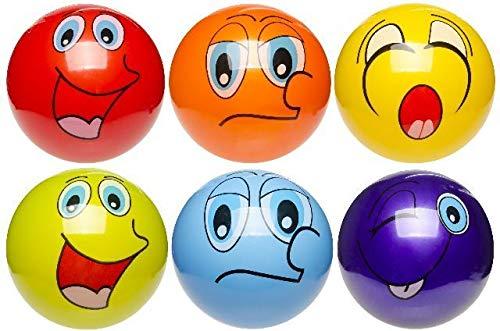 87515, 2 Stück PVC Ball mit Lachgesicht, D 23 cm, Handball, Fussball, Wasserball, Beachball, Spielball, Fußball