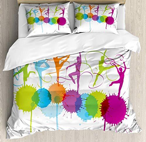 Juego de funda nórdica de gimnasia, siluetas coloridas de mujer con temática de gimnasia rítmica que realizan danza de cinta, juego de cama decorativo de 3 piezas con 2 fundas de almohada, multicolor