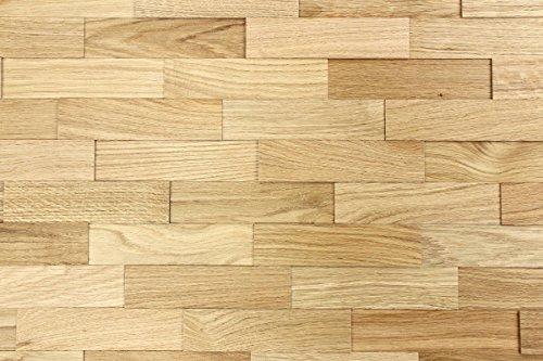 wodewa Wandverkleidung Holz 3D Optik Eiche Natur 1m² Wandpaneele Moderne Wanddekoration Holzverkleidung Holzwand Wohnzimmer Küche Schlafzimmer Strukturiert Geölt