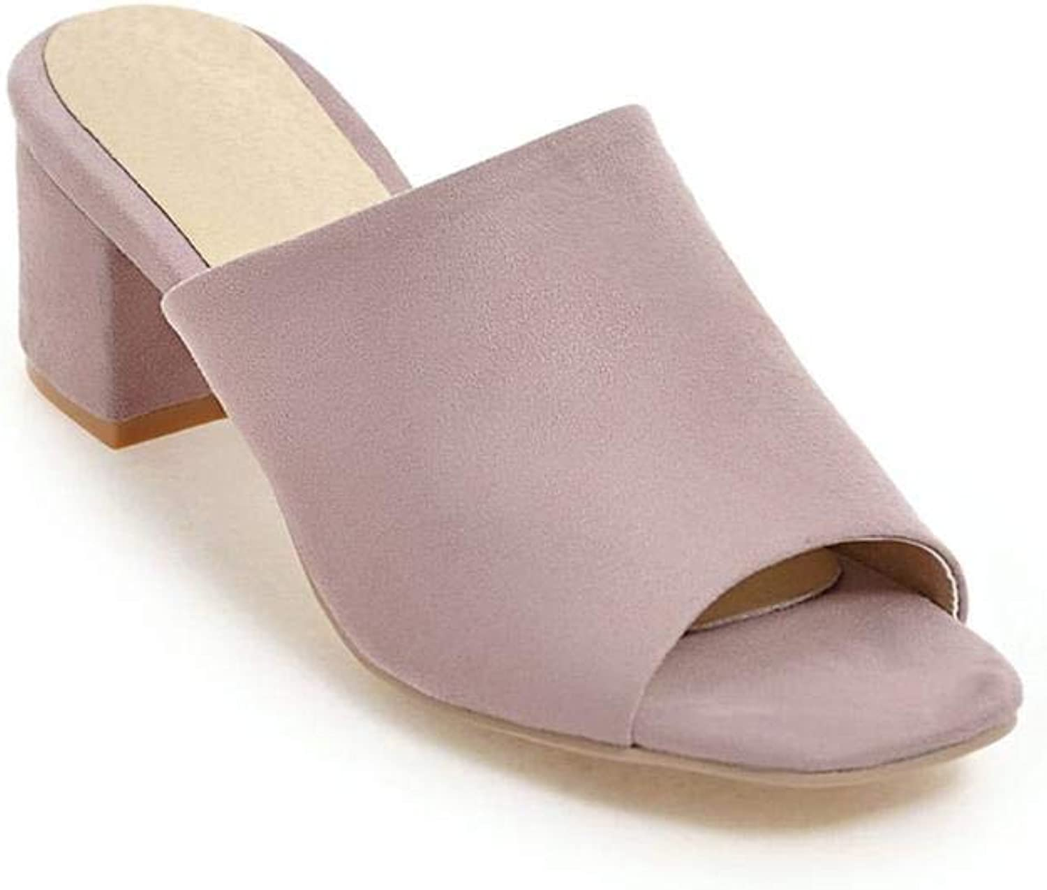 Fan-Shu Summer Solid color Women Slippers Square high Heels Casual