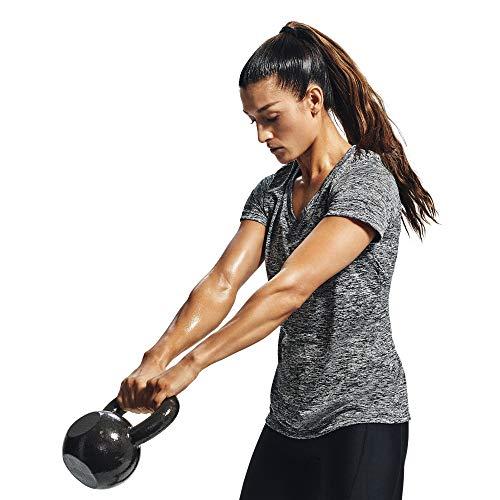 Under Armour Tech Short Sleeve V - Twist, kurzärmliges & atmungsaktives Laufshirt für Frauen, ultraleichtes T-Shirt mit loser Passform Damen, Black / Metallic Silver , S