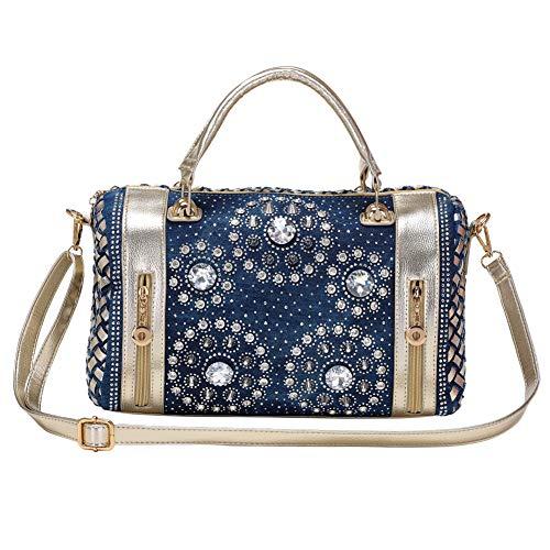 Modoker Bling Purses for Women, Jeans Rhinestone Top Handbags, Shiny Denim Bags with Adjustable Strap, Dark Blue
