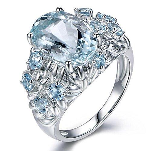 Brillante Bellissimo Mare blu Acquamarina Pietra preziosa 585/1000 (14 carats) 14K Oro bianco Fidanzamento Nozze Promettere anello per donne