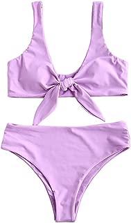 ZAFUL Womens Solid Color Strap Padded Front Knot Bikini Set
