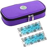JL Portátil Kit Isotérmico Insulina Nevera Viaje Caso con Bolsa de Gel Médico para Diabéticos, Púrpura,Icebag*2