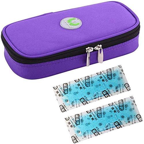 JL Insulin Kühlbox Diabetic Organizer Medizinisch für Insulin Pen Und Diabetic Supplies Isolierte Kühltasche Tragbar,Lila,Icebag*2