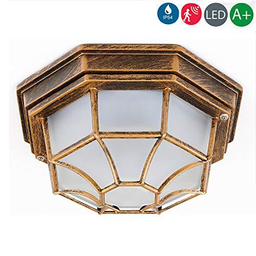 12W LED Außendeckenleuchte, außenwandleuchte mit bewegungsmelder leuchtenladen klassisch Metall/Glas schwarz Außenleuchte Deckenlampe Außenlampe,Whitelight (Bronze)