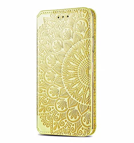 JIAFEI Funda para Xiaomi MI 11 Lite Billetera, Premium Elegante PU + TPU Flip Billetera Leather Case Cover Estuche, Amarillo