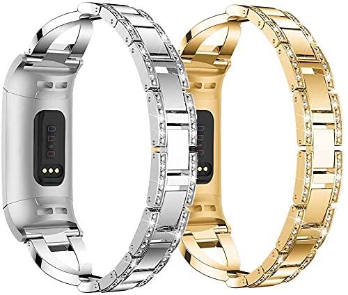 Gransho Correa Metálica de Reloj de Liberación Rápida Compatible con Fitbit Charge 4 / Charge 4 SE/Charge 3 SE/Charge 3, Pulsera Reloj de Acero Inoxidable (Pattern 2+Pattern 3)