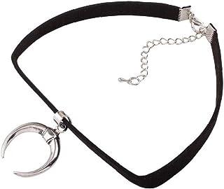 Aisoway Gotica Collana Black Velvet Ribbon Choker Gotica a Mano con Fascino del Pendente della Luna Emo per La Femmina